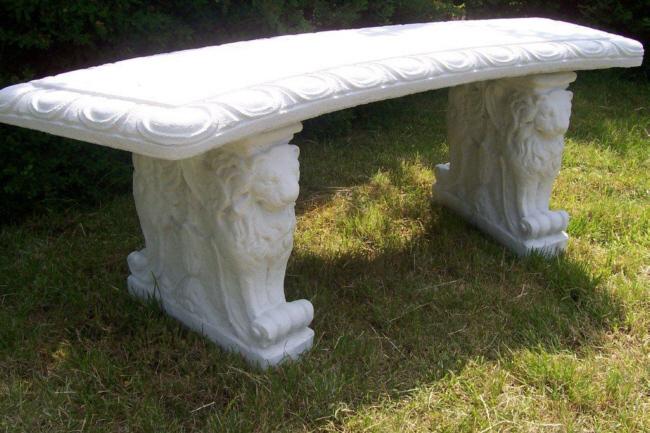 Gartenbank steinbank gebogen weiss faszination aus beton - Steinbank garten ...